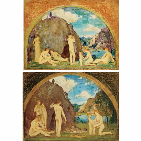 mural studies of nudes in a vast landscape a pair by arthur bowen davies