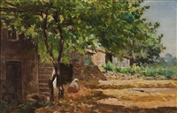 landscape with houses and figure by antonio ezequiel pereira