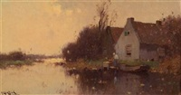 gray day on the river by h. endlich