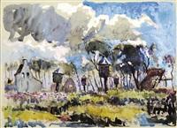 dovecots in a landscape by adrien jean le mayeur de merprés