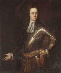 potrait of young gentleman, in armour by constantyn netscher