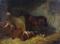 stable interior with a young farm boy, a horse, dog and cat nearby by thomas smythe