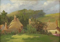 country landscape with cottages by allerley glossop