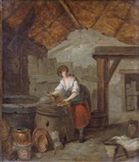 a kitchen interior with a young woman cleaning copper pans; and a kitchen interior with a young woman holding a basket (2) by marc antoine bilcoq
