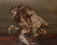homme combattant un taureau by claude weisbuch