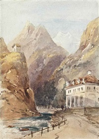the simplon pass, iselle; figures before a church under moonlight; an alpine landscape with a boat; a monochromatic study of figures before a bridge below a castle (4 works) by william leighton leitch