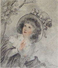 portrait of a girl, emblematic of spring by richard cosway