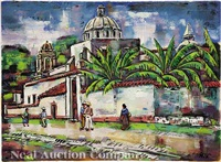 street scene in manzanillo; street scene in mexico (2 works) by emil eugen holzhauer