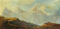 alm in hochgebirge vor eiger, mönch und jungfrau by gustave adolph amberger