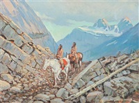 indian riders in the mountains by matt lindstrom