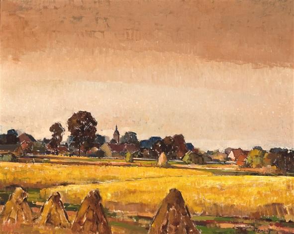 korenvelden en dorp by joseph jos tysmans