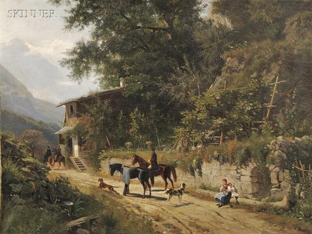 genre scene along an alpine road by eugen felix prosper bracht