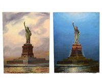 statue of liberty day and night (2 works) by kipp soldwedel