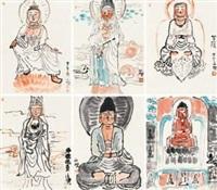 佛陀组画 (6 works) by pang yongjie