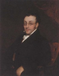 portrait of a gentleman in a black coat and stock by william john (sir) newton
