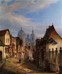 blick in den strassenzug eines städtchens mit kuppelkirche by hector louis allemand