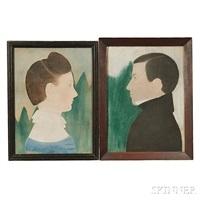 portraits of spelman c. bascom and philena ballard bascom, and a cutout of miss philena ballard bascom (2 works) by ruth henshaw miles bascom