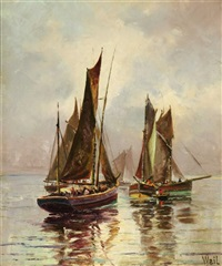 boats in a calm sea by otto weil