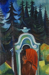 waldkapelle - betende bäuerin (böhmen) (+ knabe photographiert (alfred mathieu aus verden und luca), verso) by conrad felixmüller