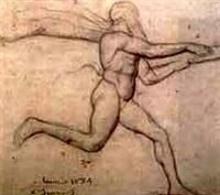 figure study in the louvre by louis a. f. (jean-louis) janmot