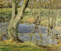 spring flowers along riverbank by guy rose