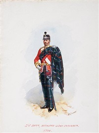 74th highlanders, 1789 (+ 2 others; 3 works) by richard simkin