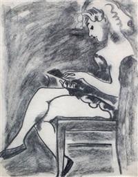 lesendes mädchen (+ unfinished portrait sketch, verso) by karl lohse