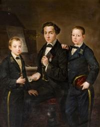 retrato de tres jóvenes by josé gutiérrez de la vega
