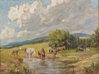 horses at the water's edge by allerley glossop