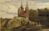 de oude stadspoort van delft: the old citygate, delft by matthijs maris