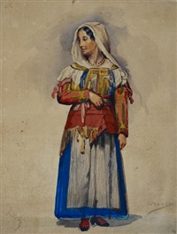 stehende frau aus corvara in tracht by ferdinand piloty the younger