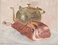 nature morte avec jambon by louis thevenet