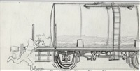 tintin et milou, illustration à la mine de plomb pour la case c1, planche 33 de l'épisode