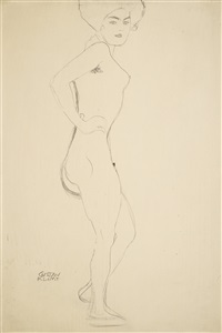 stehender akt in halber drehung nach rechts (standing nude turned to the right) by gustav klimt