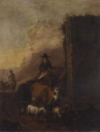 drovers and their animals beside a ruin by sebastiaen (bastiaen) heemskerck