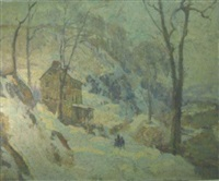 winter landscape with sleigh by kenneth francis bates
