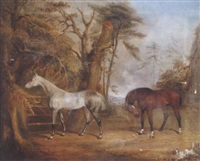 horses in a landscape by james c. freeman