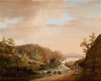landskap med vandrande figur by carl johan fahlcrantz