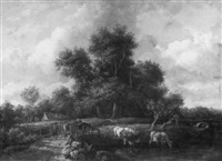 landscape with a drover and cattle by a stream by henry milbourne