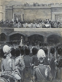 reading the proclamation of the accession of edward vii, st. james's palace by enoch ward