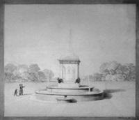 platz mit monumentalbrunnen und park by ludwig ferdinand hesse