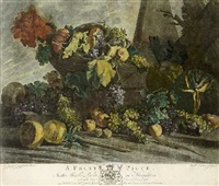 a fruit piece in the marble parlour at houghton (after a painting by m. angelo campidoglio) by richard earlom