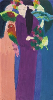 three women with fans and a parrot by walasse ting