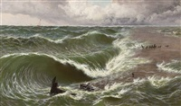 a coming storm, ebb tide on the goodwin sands by thomas rose miles