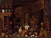 kücheninterieur mit weiblicher figur; interieur mit schreibender figur (der apotheker) by giovanni domenico valentino