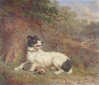 hunting dog and rabbit by martin theodore ward
