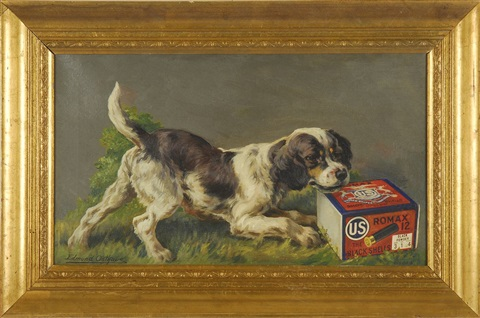 untitled us cartridge co depicting an english setter playing with a box of us ammunition companys romax brand black powder shells illus by edmund henry osthaus