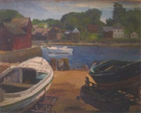 drydocked boats with river and buildings in background by joseph newman