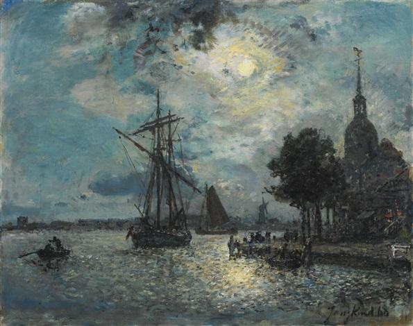le port de dordrecht au clair de lune by johan barthold jongkind