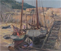 polperro harbour, cornwall at low tide by alexander carruthers gould